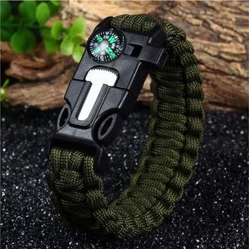 5 in 1 Outdoor Survival Paracord Bracelet - ARMY GREEN [8834053004]