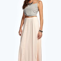 Ruby 90's Grunge Style Button Front Maxi Skirt