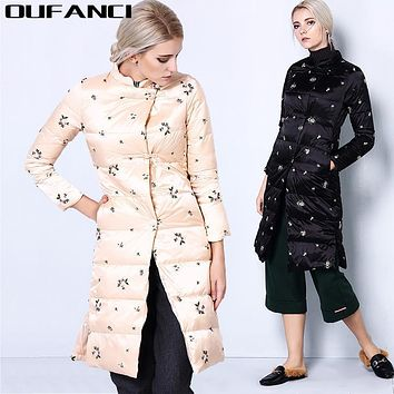 Oufanci Chinese Retro Embroider 2016 Standing Collar Medium Length Fashionable Down Coat Women's Flower Print Warm Women Jacket