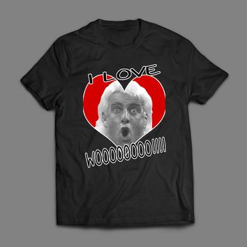 "PRO WRESTLER, RIC FLAIR ""I LOVE WOOO!!!"" VALENTINES DAY FUNNY T-SHIRT"