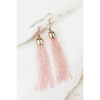 Bold Streak Pink Tassel Earrings