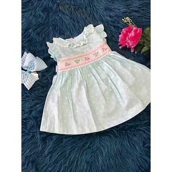2019 Spring & Summer Aqua Blue Sweet Polka Dot & Flowers Infant Dress