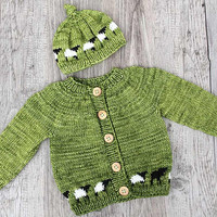 Green Baby Cardigan With Matching Hat, Hand Knit Baby Jacket With Small Sheep, Handmade Sweater for 6 Months Old Baby, White and Black Sheep