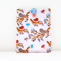 Fabric Ipad cover, bird print fabric, padded tablet case, Ipad Air cozy, woodland fabric, Ipad 2 case, handmade in the UK