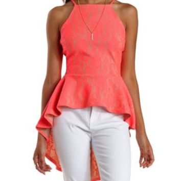Neon Coral Lace High-Low Peplum Top by Charlotte Russe