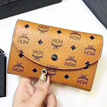 MCM High Quality Classic Fashion Women Leather Buckle Wallet Purse