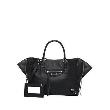 Balenciaga Papier Mini A4 Black Magnet Zip Around Handbag