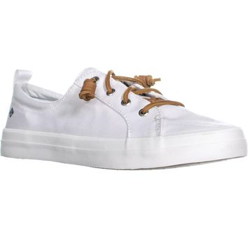 Sperry Top-Sider Crest Vibe Lace Up Fashion Sneakers, Canvas White, 7.5 US / 38 EU