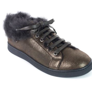 Brunello Cucinelli Brown Metallic Leather Fur Trim Sneakers