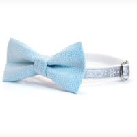 "Holiday Bow Tie Cat Collar Set - ""Silver Wonderland"" - Silver Gray Satin Snowflake Collar + Light Blue Detachable Bow Tie"