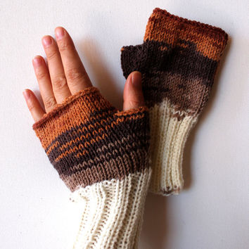 Autumn / Winter Trend / Hand Knit Fingerless Gloves / Medium size fits most. / Cream . Brown / Winter Fashion/ Arm Warmes