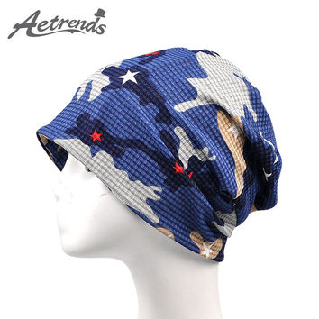 [AETRENDS] 2017 Newly Multi Use of Collar Scarf and Hats for Men or Women Summer Hat Thin Camouflage Hip Hop Beanies Z-5009