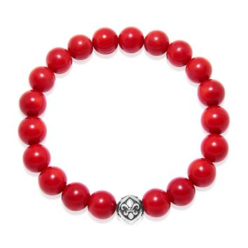Wristband with Red Jade and Silver