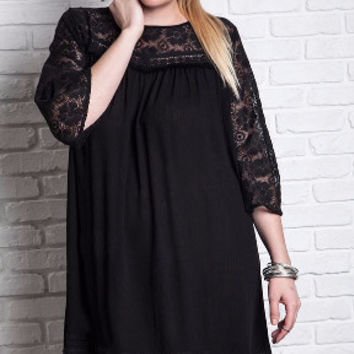 Hot Licorice Plus Size Woven Lacey Mini Shift Dress-Umgee-Black