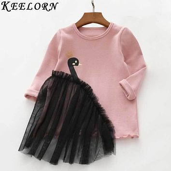 Keelorn Girls Clothes 2017 Autumn New Baby Girls Tops Fashion Style Tees Swan design T-shirt Girls Dress Children Clothing