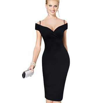 Women's Elegant Knee Length Midi Formal Pencil Dress
