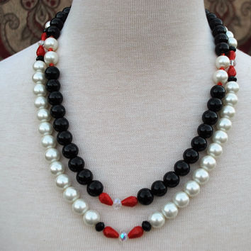 Black and White Glass Pearl Bead Double Stranded Necklace