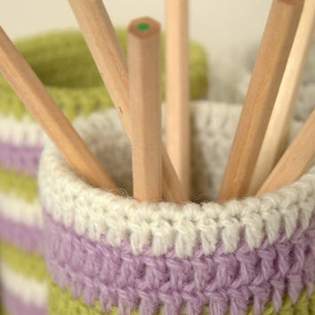Recycled tin can with crocheted cozy - set of 4, wool, pencil holder, vase for dried (or live) flowers -stripped,white,green,lilac colours