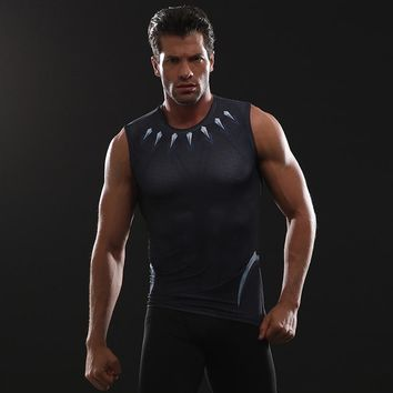 Black Panther 3D Printed T shirts Men Compression Shirt Avengers 3 Cosplay Costume Clothing 2018 NEW Summer Comics Tops For Male