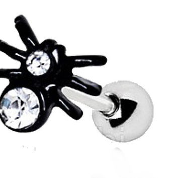 Black PVD Plated Jeweled Spider Cartilage Earring