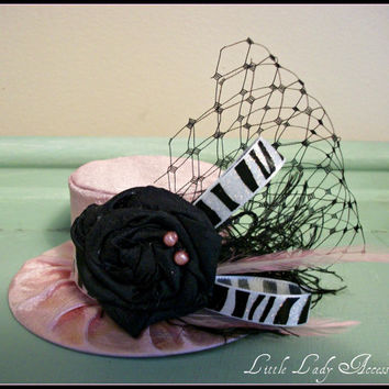 Mini Top Hat Alice in Wonderland Baby Pink and Black Zebra Birthday Hat Photography Prop