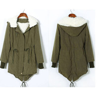 2 Color Womens Thicken Fleece Warm Winter Coat Zip Hooded Parka Outwear Jacket O