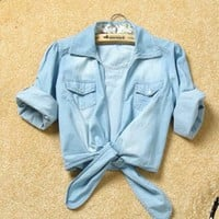 Women Summer New Lower Hem Knotted Middle Sleeve Casual Jean Blue Jean Shirt Top One Size@II1015bl $12.92 only in eFexcity.com.