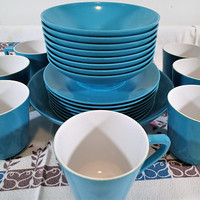 Aqua Blue Melamine Dinnerware 24 piece set, Vintage plastic dishes, plates, bowls cups, for picnics, camping, outdoor dining