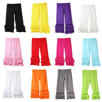 Girls' Ruffle Bottom Icing Boutique Pants - 14 Color Options. 95% Cotton/5% Spandex