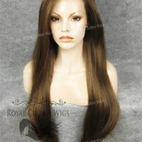 "30 inch Heat Safe Synthetic Straight Lace Front ""Hera"" in Light Brown Mix"