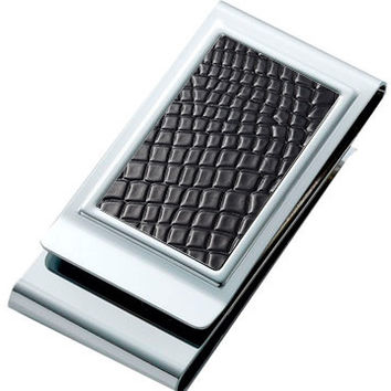 Two Sided Stainless Steel Chrome Plated Black Money Clip with Black Gift Box