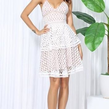 Untamed Heart White Nude Cut Out Lace Sleeveless Spaghetti Strap Choker Tiered V Neck Mini Dress