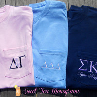 Short Sleeve Greek Letter Embroidered Pocket T-shirt