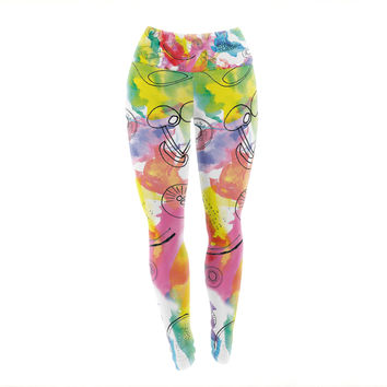 "Danii Pollehn ""Fruits"" Rainbow Yoga Leggings"