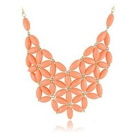 ZLYC Women Fashion Women Chunky Cluster Peach Beads Collar Statement Necklace, Peach