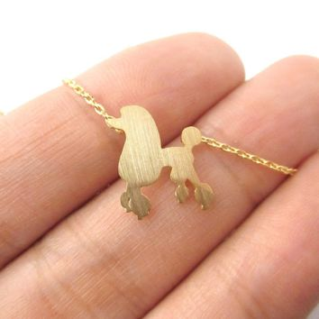 French Poodle Silhouette Shaped Pendant Necklace in Gold | Animal Jewelry