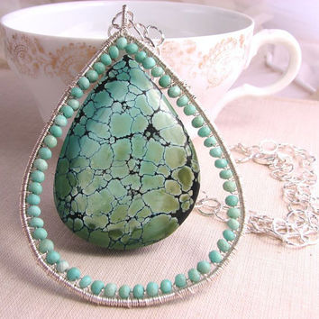 Statement Jewelry Turquoise and sterling silver by shadowjewels