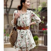 Green Women Summer Autumn New Style Mid Sleeve Chiffon Dress M/L/XL @WH0408gr $17.94 only in eFexcity.com.