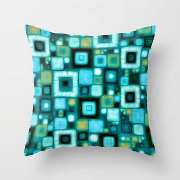 Teal Squares Throw Pillow by Kirsten Star | Society6