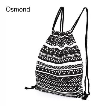 Osmond  Women National Canvas Backpacks For Teenage Girls Drawstring Bag School Backpack College Bag Feminina Backpack Sack Bags