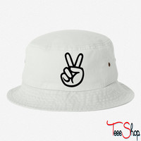 peace sign hand bucket hat