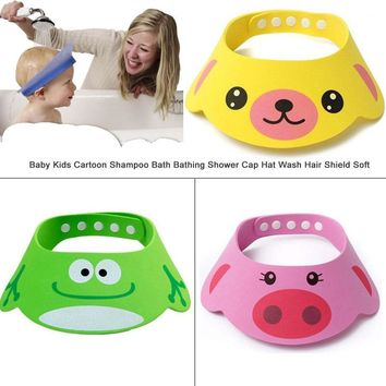 PUDCOCO 2018 Newest Hot Baby Kids Home Useful Bou Girl Cartoon Shampoo Bath Bathing Shower Cap Hat Wash Hair Shield Soft
