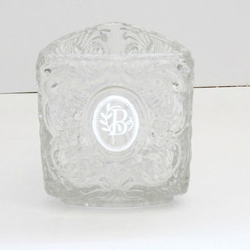 vintage Avon triangle Shape Crysta and silverl Holder monogram letter B ~antique retro avon crystal monogram B