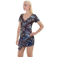 Melted Metal Short Sleeve Asymmetric Mini Dress