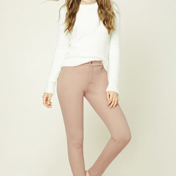 Mid-Rise Textured Pants