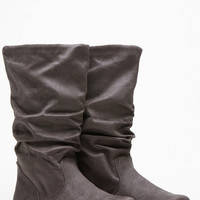 Soda Charcoal Slouchy Faux Suede Boots