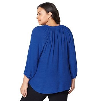 Royal Blue Embroidered Stripe Plus Size Peasant Top