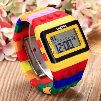 Unisex Couples Wristwatch Rainbow Color Casual Digital LED Silicone Sports Watch