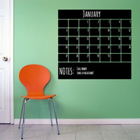 Monthly Calendar With Bottom Notes Chalkboard Wall Decal