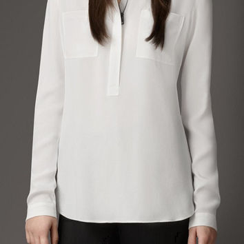Mandarin Collar Long-Sleeve  Button-Up Chiffon Blouse With Pockets